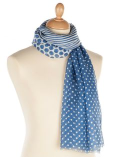 blue and white polka dots and stripes.