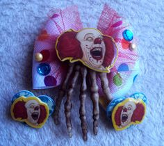 Pennywise Hair Bow and Earrings Set Stephen by MirroredOpposites