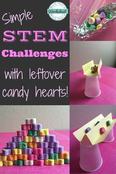 Candy Heart STEM Challenges…fun ideas for leftover candy hearts. From STEM Activities for Kids Valentines Day Activities, Holiday Activities, Stem Activities, Activities For Kids, Space Activities, Learning Activities, Holiday Crafts, Holiday Ideas, Measurement Activities