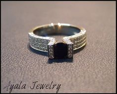 14K Gold Black Sapphire RingWhite Gold Diamond by AyalaDiamonds