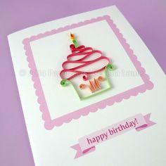 Cupcake Birthday Card  Quilling Patterns PDF Tutorial