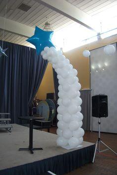 Shooting Star Columns designed by Balloons by Night Moods, in Juneau, Alaska 523-1099 www.juneausbestballoons.com