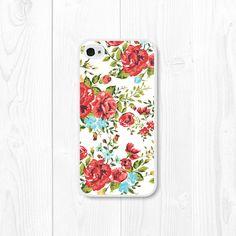 Floral rouge iPhone Case Floral iPhone 4 cas Floral par fieldtrip