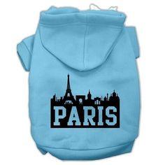 Paris Skyline Screen Print Pet Hoodies Baby Blue Size XL (16)