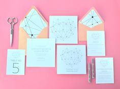 Modern Minimalist Geometric Heart Wedding Invitation by #GubbaGumma on #Etsy