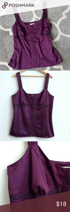 "Ann Taylor LOFT Fitted Bodice Violet Tank - 14 Ann Taylor LOFT fitted bodice/tank. This is a dark (deep) purple and is a gorgeous soft satiny fabric. Size 14.  Top has a beautiful pleated detail vertically down the front and is lined in the bra area (with the same purple fabric.) There is also a zipper closure on the left side underarm area. 100 % polyester and in great condition! Lay flat measurements: Chest: 40"" Length: 25.5"" Strap length (front to back): 15.5"" Hemline circumference: 48""…"