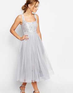 Little Mistress   Little Mistress Tulle Midi Dress with Lace at ASOS