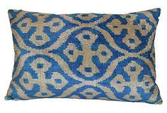 Poma Ikat 16x24 Pillow, Blue*