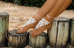 Crochet white barefoot sandals Foot jewelry Wedding by RonenDesign