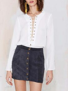 Blusa manga larga con cordón -blanco