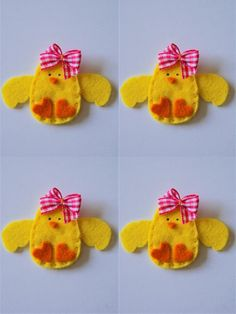Set of 4 pieces handmade felt applique Baby Girl Chicken. $7.00, via Etsy.Proprietário da loja,Valery Alllem