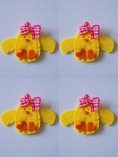 handmade felt applique Baby Girl Chicken.