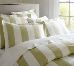 Awning stripes give this bedding its all-American appeal. We've printed them in versatile colors across luxuriously soft 400-thread count cotton percale.
