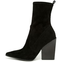 Kendall + Kylie Felicia Black Suede Pointed Mid-Calf Boots (2.203.905 IDR) ❤ liked on Polyvore featuring shoes, boots, black, suede boots, black stretch boots, black suede mid calf boots, black boots and stretch suede boots