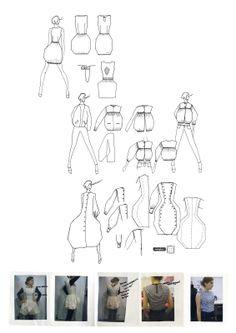 Fashion Portfolio - dress illustrations, fashion design development & final piece; fashion sketchbook