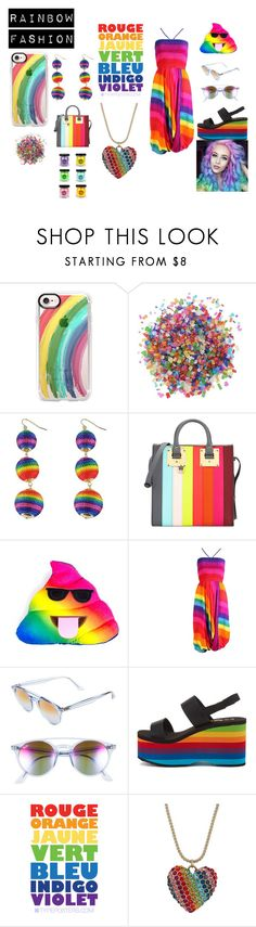 """Rainbow fashion"" by shannongarner ❤ liked on Polyvore featuring Casetify, Dress My Cupcake, Sophie Hulme, Ray-Ban, Rocket Dog and Betsey Johnson"
