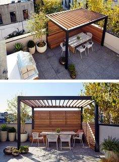 Pergola with built in travel bench with storage and privacy wall