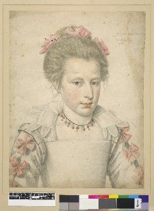 1615 - Portrait of Anne of Austria; head and shoulders slightly turned to r, looking to front, hair tied back, wearing three bows in her hair matching those on the sleeves, necklace with alternating pearls and triangular pendants, square neckline, collar with petal shapes beneath. 1615  Charcoal with coloured chalks