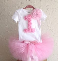 Pink Tutu, Birthday Tutu, Cake Smash, Toddler Tutu, 1st Birthday, Birthday Outfit, Embellished Shirt, Ballerina Tutu