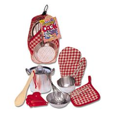 $24.99 -  Make sure to stir the pasta and add our secret ingredient to your pasta sauce. And don?t tell anyone your secret ingredient! Young chefs will enjoy this 9 piece play cookware set and find that it?s just the right size for them to stir up some fun. Set contains:• Oven mitt• Pot holder • Whisk • Measuring spoon set • Wooden spoon • Saute pan• 4 1/2 pot with lid and sauce pan. Like Pretend Play Toys? See ?em all here!