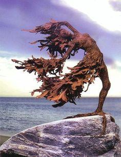 Windswept, by weldress Driftwood Sculpture, Art Sculpture, Driftwood Art, Metal Garden Art, Metal Art, Green Man, Recycled Art, Outdoor Art, Land Art