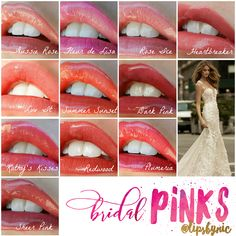 My favorite Pink Lip Colors for Brides. LipSense is perfect for weddings because it won't kiss off or smudge, and you won't need to worry about reapplying!