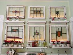 Old windows used as wall decor and shelves Stained Glass Projects, Stained Glass Art, Stained Glass Windows, Mosaic Glass, Old Window Projects, Diy Projects, Furniture Projects, The Kinfolk Table, Crushed Glass