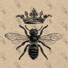 Vintage Bild Queen Bee Queen Crown druckbare digitale Clipart sofortigen Down. Bumble Bee Tattoo, Honey Bee Tattoo, Queen Bee Tattoo, Queen Crown Tattoo, Logo Bee, Crown Printable, Images Vintage, Retro Images, Printable Pictures