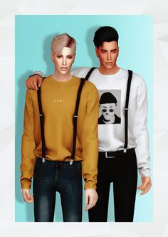 Gorilla gorilla gorilla t-shirt with suspender top new mesh Sims 3, The Sims 2, The Sims 4 Packs, Sims Four, Sims 4 Men Clothing, Sims 4 Male Clothes, Maxis, Outfits For Teens, Boy Outfits