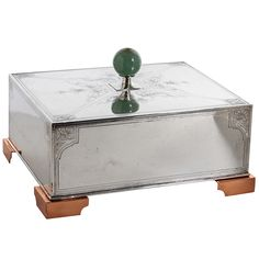 Sweetser Co. American Arts & Crafts Sterling, Copper and Jade Cigar Box c. 1910   From a unique collection of antique and modern decorative boxes at https://www.1stdibs.com/furniture/more-furniture-collectibles/decorative-boxes/