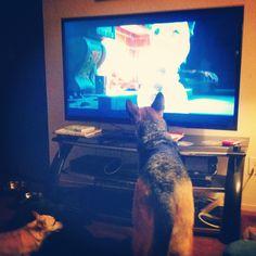 "Kyreah watching ""Frozen""."