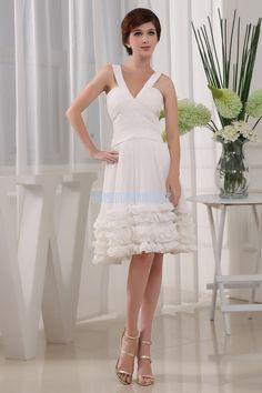 Cute sheath V-neck halter Knee-Length chiffon White Cocktail Dress With  Ruche( a344e783d
