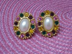 Vintage Multi color gold tone oval faux gems & pearl Clip Earrings 1950-60's era #unknown