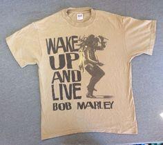 BOB MARLEY Shirt 1995 Vtg Wake Up And Live Reggae Rock USA T-shirt Cotton L #BobMarley #GraphicTee