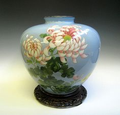 Japanese Cloisonne Vase with Chrysanthemum