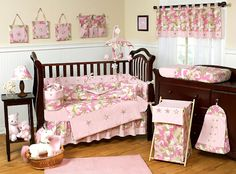 Pink Camo Crib Bedding - 9pc Pink Army Camouflage Baby Girl @Megan (how perfect for y'all lol)