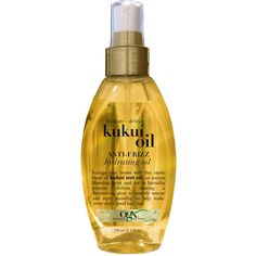 The OGX® Kukui Oil anti-frizz hydrating oil is perfect for frizzy hair, resistant to humidity and helps create radiance and smooth texture for your hair. Anti Frizz Spray, Anti Frizz Hair, Frizzy Hair, Curly Hair, Hair Scalp, 4c Hair, Short Hair, Hair Care Routine, Hair Care Tips