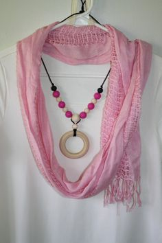 Silicone and Wood teething nursing necklace saftey clasp by iPuke, $14.50