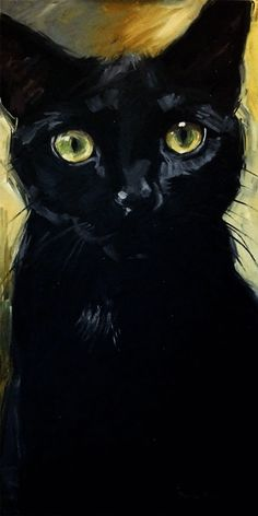 HUGE black cat oil painting.  Big 18 x 36 inch original oil painting of black kitty Morticia with the yellow eyes by Diane Irvine Armitage.