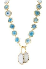 AGATE IBIZA AQUA  LARIAT NECKLACE