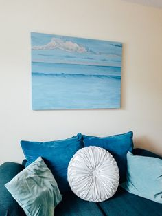 Ocean Wave Painting, Beach House Decor, Ocean Waves, Beach Themes, Original Paintings, Throw Pillows, Inspiration, Art, Champagne