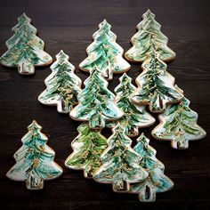 Designer Christmas tree cookies by Tammy Holmes. Hand painted tree cookies, stocking stuffer : Designer Christmas tree cookies by Tammy Holmes. Cute Christmas Cookies, Iced Cookies, Royal Icing Cookies, Christmas Goodies, Holiday Cookies, Christmas Baking, Christmas Cakes, Christmas Desserts, Christmas Ornaments