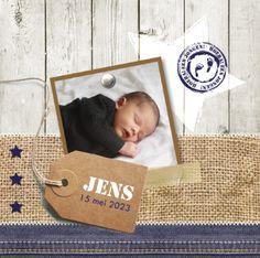 Geboortekaartje Jens www.hetuilennestje.nl Stoer, foto, polaroid, label, jute, steigerhout, spijkerstof, ster.