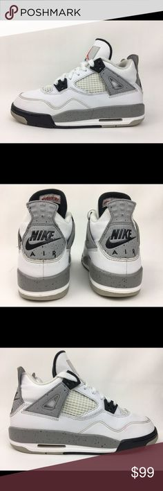 46156ef5be26e Nike Air Jordan 4 IV Retro OG White Cement Grey GS Nike Air Jordan 4 IV