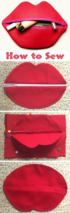 DIY Zipped Lip Makeup or Cosmetic Bag. DIY Zipped Lip Makeup or Cosmetic Bag. Source by asarayli The post DIY Zipped Lip Makeup or Cosmetic Bag. Sewing Hacks, Sewing Tutorials, Sewing Crafts, Sewing Projects, Sewing Patterns, Diy Projects, Pochette Diy, Creation Couture, Red Lips