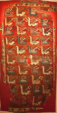 Early Ottoman rug with birds design, 15th century, Turkey. Konya Mevlana Museum