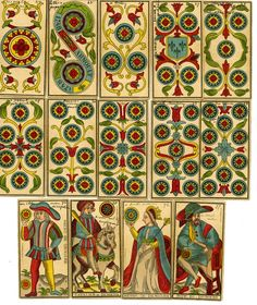Complete tarot pack with 78 playing-cards. This pack is a copy of the Tarot of Besançon of the Paris cartier, Lequart. The Tarot of Besançon is a variant of the Tarot of Marseille where the Popess and Pope have been replaced by Juno and Jupiter.   Hand-coloured lithograph Backs mottled brown 1898