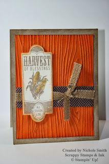 Harvest of Blessings card made with Stampin' Up!'s Harvest of Thanks stamp set, Burlap Ribbon, Woodgrain Embossing Folder, and Sweater Weather DSP