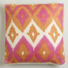 WorldMarket.com: Pink Ikat Print Burlap Throw Pillow