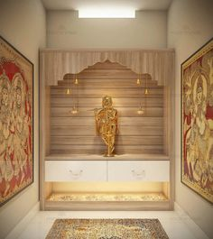 Tips to design pooja rooms in small spaces Temple Room, Home Temple, Bedroom Cupboard Designs, Living Room Designs, Temple Design For Home, Mandir Design, Room Interior, Interior Design, Pooja Room Door Design